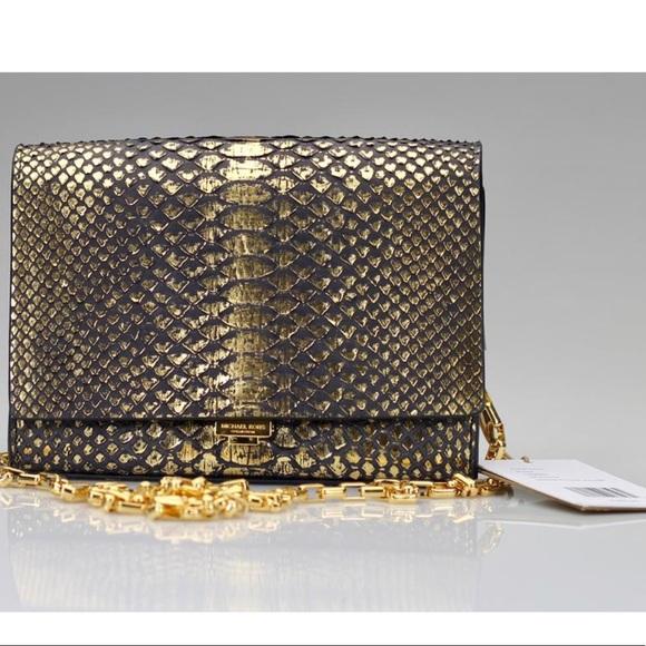 9893cd10e243 Michael Kors Bags | Sale Mk Collection Yasmeen Metallic Python Bag ...